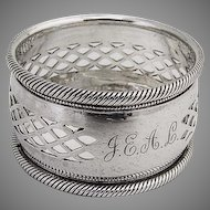 Sterling Napkin Ring Geometric Pierced Designs Birmingham 1898