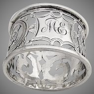 Ornate Napkin Ring Openwork Decorations Birmingham 1909 Thomas Bishton