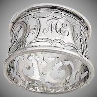 Ornate Napkin Ring Openwork Decorations Birmingham 1909 Thomas Bishton