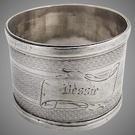Engine Turned Napkin Ring Coin Silver 1880