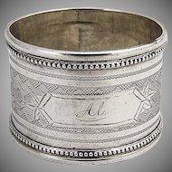 Engine Turned Napkin Ring Coin Silver 1880 Monogram Al