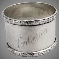 German Napkin Ring Floral Borders 800 Silver 1890 Inscribed Lottchen