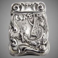 Ornate Griffin Match Box Match Safe Vesta Sterling Silver 1900