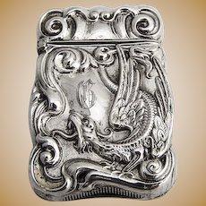 Ornate Griffin Match Box Match Safe Vesta Sterling Silver 1900