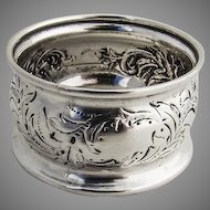 Ornate Coin Silver Napkin Ring Chased Scroll Decorations 1870
