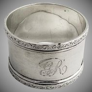 Vintage Napkin Ring Scroll Embossed Borders Sterling Silver Birmingham 1900