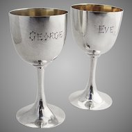 Chinese Export Silver Small Wine Goblets 1920