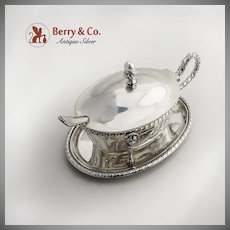 Continental Serving Dish Hinged Lid Under Plate 800 Silver Gadrooned Rim 1900-1920