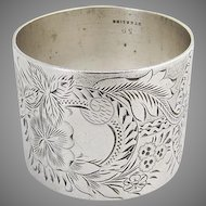 Aesthetic Sterling Silver Napkin Ring Floral Engraved Decorations 1880
