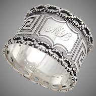 Greek Key Napkin Ring Twisted Rope Border Coin Silver 1860