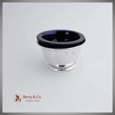 Open Salt Dish Sterling Silver Cobalt Blue Glass Birmingham 1910