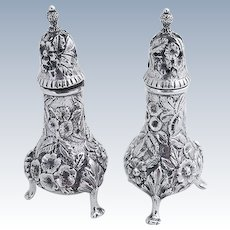 Repousse Salt and Pepper Shakers Sterling Silver S Kirk and So 1920