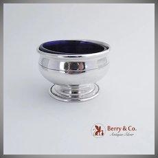 Master Open Salt Dish Sterling Silver Cobalt Blue Glass 1910