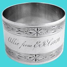 Coin Silver Napkin Ring Engraved Designs 1870