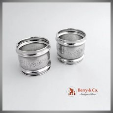 Aesthetic Pair of Napkin Rings Sterling Silver 1880