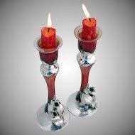 Art Nouveau Candlesticks Silver Overlay Red Glass 1910
