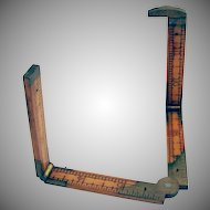 Antique Lufkin Sliding Boxwood & Brass Rule Ruler Gauge 1900