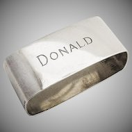 Rectangular Napkin Ring Sterling Silver 1930 Mono Donald