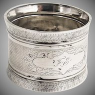 Engine Turned Napkin Ring Coin Silver 1880 Monogram FE