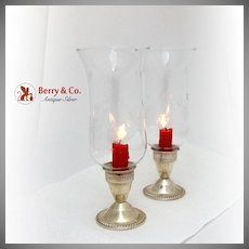 Hurricane Lamps Sterling Silver Gadroon Border 1940