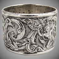 Ornate Repousse Figural Sterling Silver Napkin Ring 1930