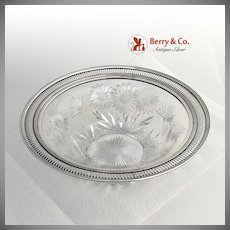Ornate Serving Bowl or Centerpiece Bowl Sterling Silver Cut Crystal 1900