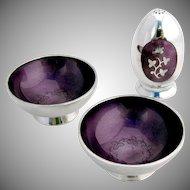 Vintage Pair of Salt Dishes and Shaker Plum Violet Guilloche Enamel Sterling Silver Meka Denmark 1950