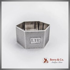 Engine Turned Hexagonal Napkin Ring Sterling Silver Frederick Field 1925