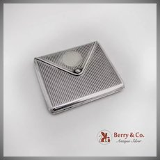 Envelope Form Cigarette Case Engine Turned Barton Sterling Silver 1900