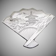 Vintage Compact Fan Form Japanese Landscape Engraved Sterling Silver 1930