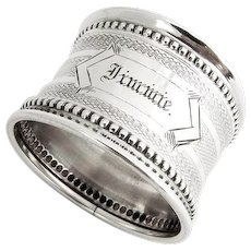 Engine Turned Napkin Ring Beaded Borders Coin Silver Monogram Jimmie 1870