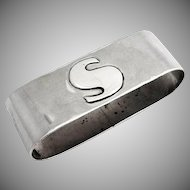 Hand Made Napkin Ring Sterling Silver Monogram S