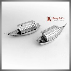 Japanese Boat Salt And Pepper Shakers 950 Sterling Silver