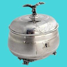 Oval Engine Turned Box Eagle Finial 835 Standard Silver
