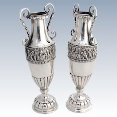 Ornate Pair of Vases 800 Silver Figural Scenes Decorations