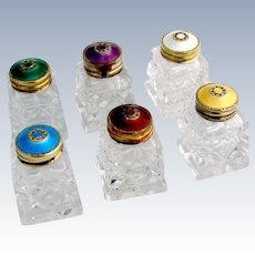 Colorful Guilloche Enamel Set of 6 Salt Shakers Norway 1930