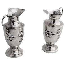Vintage Water Pitcher Form Salt and Pepper Shakers Sterling Silver