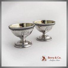 Pair of Pedestal Open Salt Dishes Coin Silver 1880