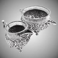 Ornate Creamer and Sugar Bowl Cherub and Scroll Decoration Dutch 830 Silver 1890