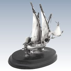 Sterling Silver Ship Model Desk Figurine 1900