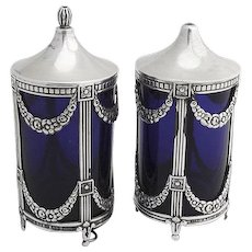 Salt and Pepper Shakers Sterling Silver Cobalt Blue Glass Sweden