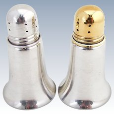 Art Moderne Salt And Pepper Shakers Sterling Silver Glass Inserts Alvin 1950