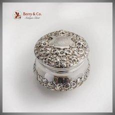 Floral Repousse Dresser Jar JSE Gorham Sterling Silver 1899 Datemark