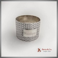 Wood And Hughes Basket Weave Napkin Ring George Coin Silver 1870
