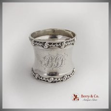 Vintage Scroll Shell Napkin Ring BGD Sterling Silver 1900