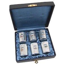 Vintage 6 Souvenir Shot Cups Set Enamel Scenes Of Wien Applied Cartouches 900 Silver 1930