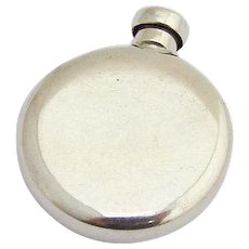 Modernist Round Perfume Flask Thomae Sterling Silver 1960