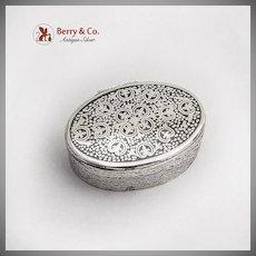 South American 900 Silver Niello Heavy Oval Pill Box
