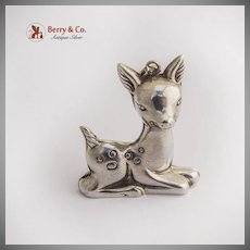 Bambi Deer Fawn Christmas Ornament Pendant Sterling Silver