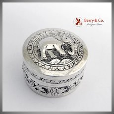 Round Engraved Elephant Box Sterling Silver